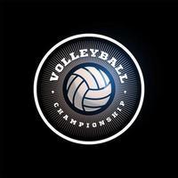 logotipo de vector circular de voleibol. tipografía profesional moderna deporte estilo retro vector emblema y plantilla de diseño de logotipo. logo colorido de voleibol