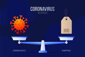 Coronavirus or HAND sanitizer vector illustration. Creative concept of scales and versus, on one side of the scale lies a virus covid-19 and on the other sanitizer icon. Flat vector illustration.