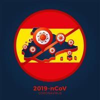 Spain flag map Sign caution coronavirus. Stop 2019-nCoV outbreak. Coronavirus danger and public health risk disease and flu outbreak. Pandemic medical concept with dangerous cells. Vector illustration