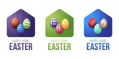 colorida tarjeta de feliz hogar de pascua 2020 con icono minimalista de vector divertido. Quedarse en casa insignia en cuarentena. reacción covid-19.