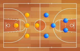 Basketball court with a tactical scheme of the arrangement of players of two basket teams on the playground, plan of a game diagram for a fantasy league coach board vector