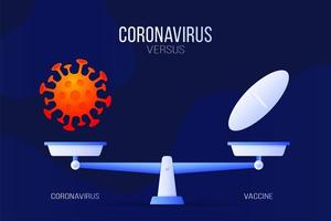 Coronavirus or medical pill vector illustration. Creative concept of scales and versus, on one side of the scale lies a virus covid-19 and on the other pill icon. Flat vector illustration.
