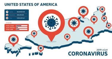 Covid-19 USA isometric map confirmed cases, cure, deaths report. Coronavirus disease 2019 situation update worldwide. America Maps and news headline show situation and stats background vector