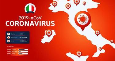 Brote de coronavirus en wuhan, china. Esté atento a los nuevos brotes de coronavirus en Italia. propagación del fondo del nuevo coronavirus. vector