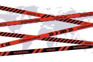 Vector biohazard danger tape on white paper cut world map background. Safety fencing ribbon. World quarantine flu. Warning danger influenza hazard. Global pandemic coronavirus COVID-19