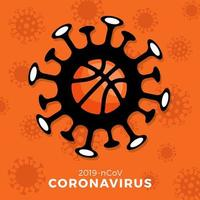 vector de baloncesto signo precaución coronavirus. detener el brote de covid-19. peligro de coronavirus y riesgo para la salud pública, enfermedad y brote de gripe. cancelación de eventos deportivos y concepto de partidos