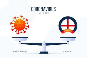 Coronavirus or England vector illustration. Creative concept of scales and versus, on one side of the scale lies a virus covid-19 and on the other UK flag icon. Flat vector illustration.