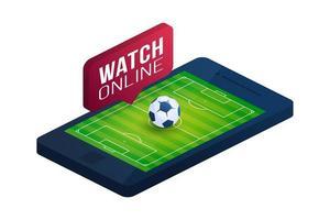 Ilustración isométrica plana de vector de concepto de fútbol en línea. concepto de vector plano isométrico de fútbol en línea.