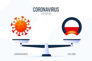 Coronavirus or Poland vector illustration. Creative concept of scales and versus, on one side of the scale lies a virus covid-19 and on the other Poland flag icon. Flat vector illustration.