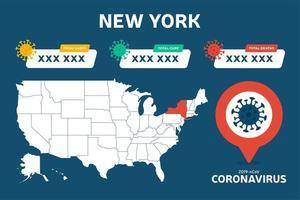 covid-19 estado de nueva york mapa de estados unidos casos confirmados, cura, informe de muertes. Actualización de la situación de la enfermedad por coronavirus en 2019 en todo el mundo. Estados Unidos mapas y titulares de noticias muestran situación y antecedentes de estadísticas vector