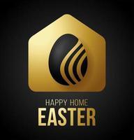 Tarjeta de Pascua 2020 de casa feliz de oro de lujo con un icono minimalista de vector divertido. Quedarse en casa insignia en cuarentena. reacción covid-19.