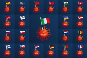 Establecer vector bandera de país de Europa clavada en un coronavirus. detener el brote de 2019-ncov. peligro de coronavirus y riesgo para la salud pública, enfermedad y brote de gripe. concepto médico pandémico con células peligrosas