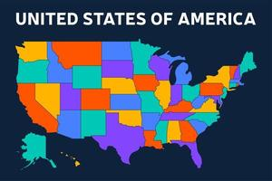 Blank map of USA, United States of America, in colors of rainbow spectrum vector