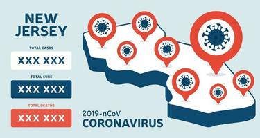 Covid-19 New Jersey state USA isometric map confirmed cases, cure, deaths report. Coronavirus disease 2019 situation update worldwide America Maps and news headline show situation and stats background vector