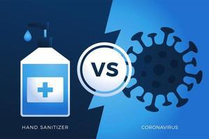 gel desinfectante de manos antivirus vs o versus concepto de coronavirus protección covid-19 signo ilustración vectorial. Fondo de diseño de prevención de covid-19.