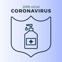 Soap or Sanitizer Gel and Shield Using Antibacterial, Virus Icon, Hygiene, Medical Illustration. Coronavirus Covid-19 Protection