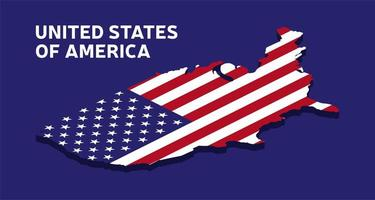 Isometric national flag of the USA. Illustration of American flag icon. vector