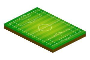 Campo de fútbol isométrico 3d. Ilustración de vector de tema deportivo, campo de deportes de fútbol, estadio. elemento de diseño editable aislado para infografías, banner