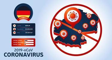 Brote de coronavirus en wuhan, china. Tenga cuidado con los nuevos brotes de coronavirus en Alemania. propagación del fondo del nuevo coronavirus. vector