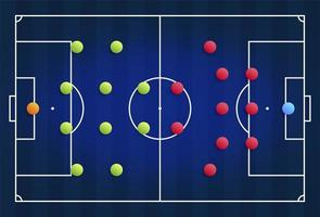 A blue cyber football field with a tactical scheme of the arrangement of players of two soccer teams on the board, organization of a game diagram for a fantasy league coach vector