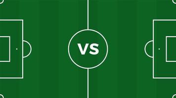 Partido de fútbol versus fondo deportivo de introducción de equipos, cartel final de la competencia del campeonato, ilustración vectorial de estilo plano