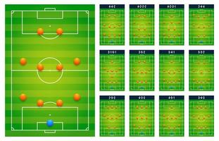 Top best popular football soccer green fields tactic table for coach players, match set concept. Planning upcoming schemes game. Modern flat vector illustration icons. Isolated on white