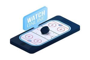 Ilustración isométrica plana del vector del concepto en línea del hockey sobre hielo. concepto de vector plano isométrico de hockey en línea.