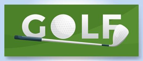 logotipo de golf de palabra de tipografía vectorial. Logotipo deportivo con equipo para diseño de impresión, ilustración vectorial
