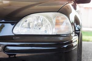 Close-up of a black car