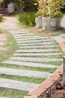 Garden walking path make with stone