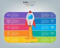 Online marketing concept. Banner with rocket, technology and social media. vector