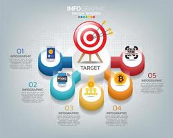 Target with rocket and four options with numbers and text, infographic template. vector