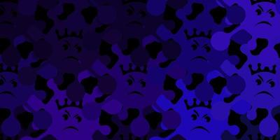Dark purple vector texture with disease symbols.