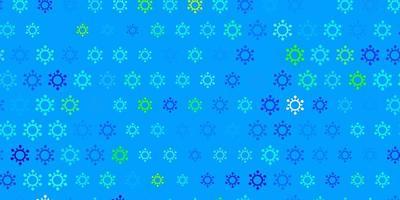 Dark blue, green vector pattern with coronavirus elements.
