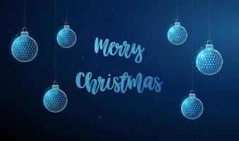 Abstract low poly hanging christmas toys with text vector