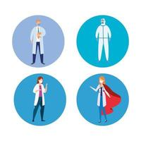 group of health professionals avatars