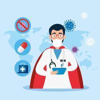 super doctor con capa de héroe e iconos médicos