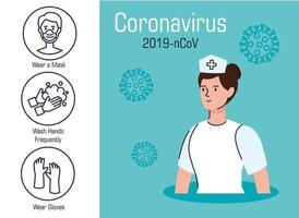 Coronavirus prevention banner with nurse