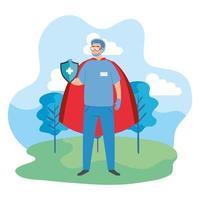 super paramédico con escudo y capa de héroe