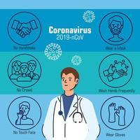 banner de prevención de coronavirus con doctor