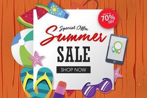 Summer super sale banner template on color background.