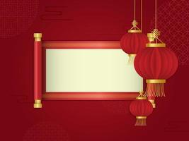 Red lantern and scroll in front of chinese abstract background vector