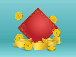 Chinese gold ingot and coin in front of blank red paper on green color background