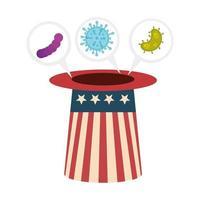 campaña de prevención de coronavirus y sombrero de copa de EE. UU.