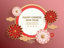 Red and pink flowers with chinese abstract background vector