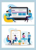 Coworking scenes set vector