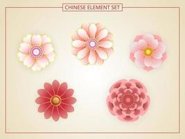 Chinese flowers with pink color in paper cut style