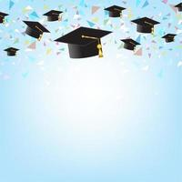 Education concept with graduation caps on background.