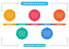 Colorful infographic modern art design step by step