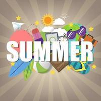 Summer banner template on color background.